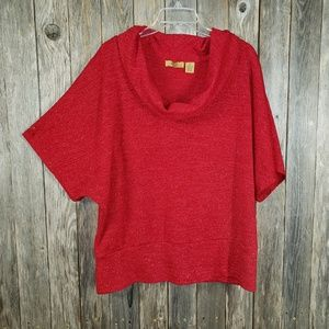 Valerie Stevens Red Metallic Top Blouse